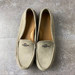 Coach Gray Mary Lock Up Suede Driver Loafers 8B